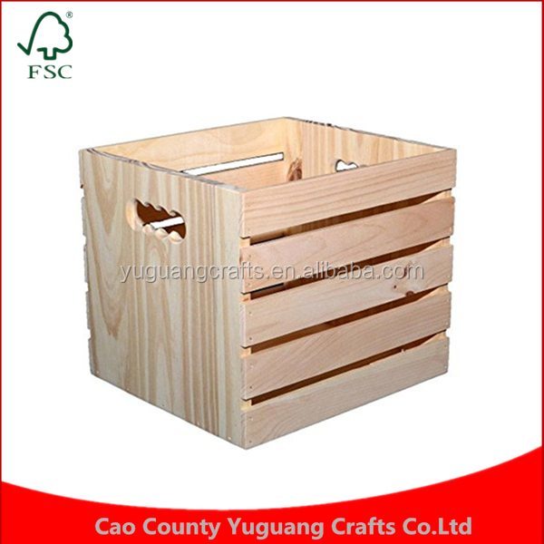 Custom made cheap wholesale Cube Shape Handle Storage Wooden Book Fruit Crate for sale