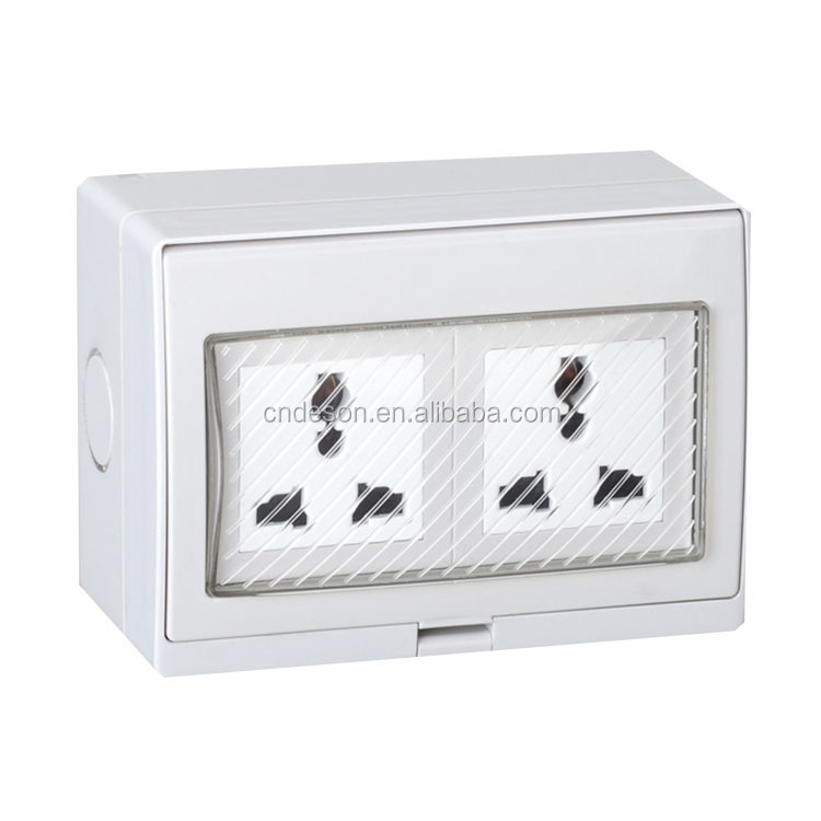 118x86mm Wall Panel Mounted IP55 Waterproof 2 Gang Universal Wall Socket , Waterproof Switch Socket Plug Sries DS-2U