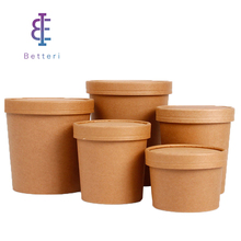 Disposable custom kraft soup ice cream paper cups with paper lids