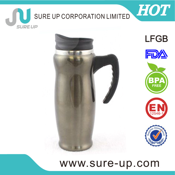 Color PP decorated thermos coffee mugs with comfortable handle (MSAD)