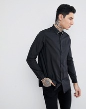 China import mens polyester cotton plain design poplin fabric long sleeve button closure slim fit black casual shirts for men