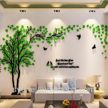 Xl 3d Three Dimensional Crystal Tree Wall Stickers Acrylic Flower