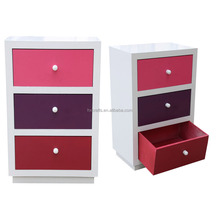 Natural style wooden used chest of colorful girl drawers