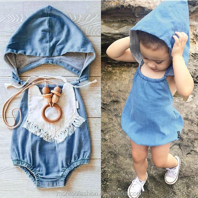 monroo Baby Girls sleeveless Summer one piece bodysuit / rompers with hats