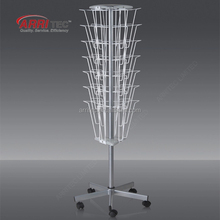 center pole standing magazine metal hook wire structure display stand with rotatable casters