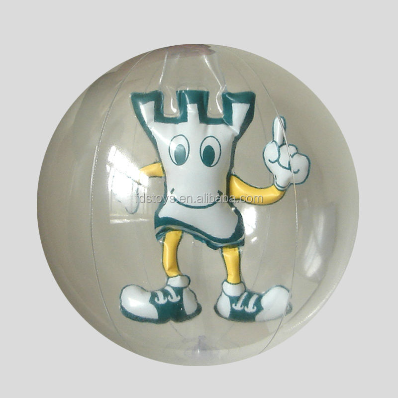 Clear PVC inflatable beach ball with cartoon inside for kids play
