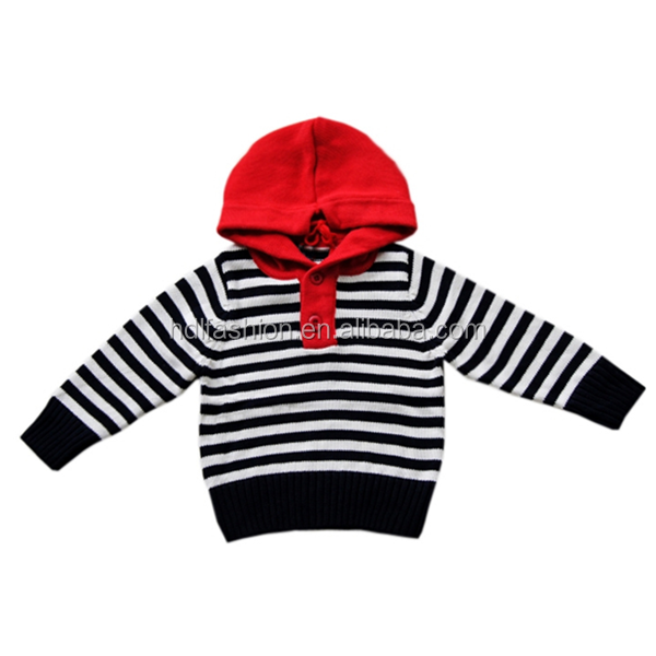 Kids hand knitted stripes hoody sweaters