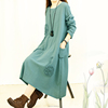 The spring autumn Chinese style restoring ancient ways cotton linen dress elegant loose sexy nighty long maxi dresses for women