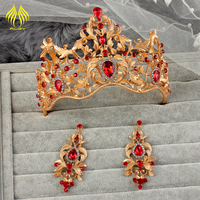Luxurious Baroque crowns gold metal alloy large pageant crowns with red big rhinestones
