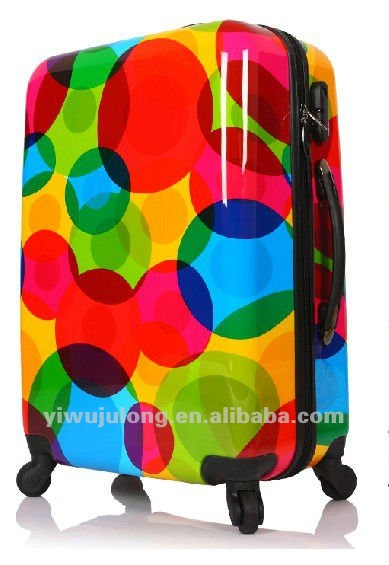 colorful printed ABS&PC luggage sets /3pcs TSA wheels durable polo trolley suitcase