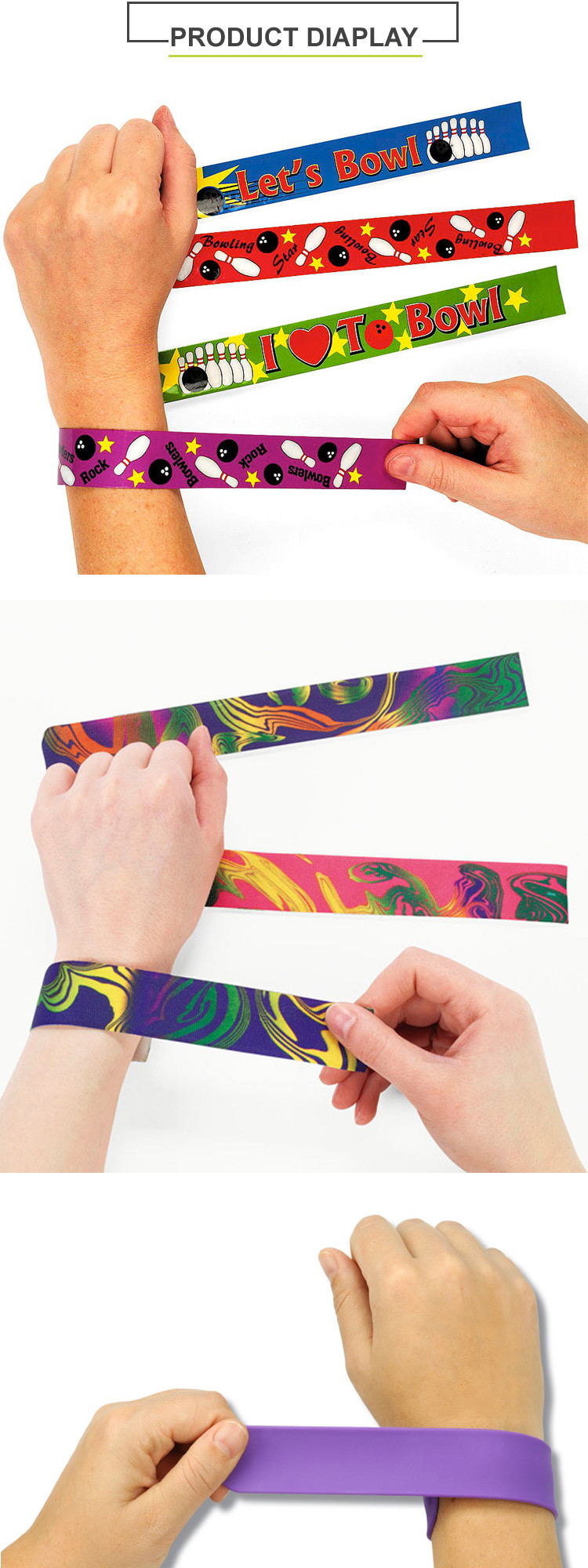 Cheap Custom PVC slap band - slap band with full color logo for kids