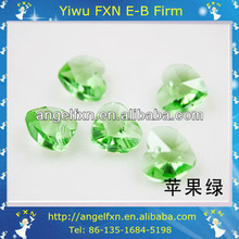 10mm green peridot crystal heart beads
