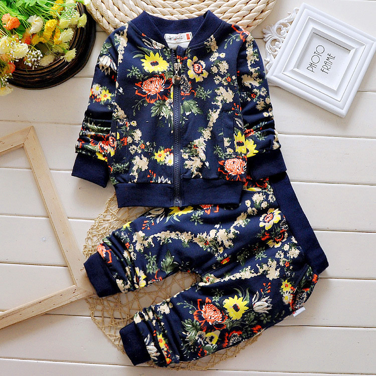 Autumn korean style fashion floral small children zipper double pocket 2pces kid clothes set