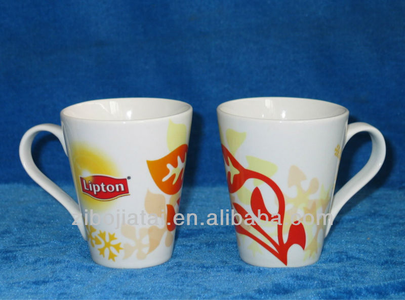 Funnel Shaped Promotional Ceramic Mug for Lipton