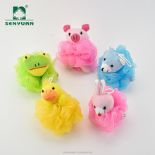 Wholesale Colorful PE Puff Kids Bath Sponges With Animal