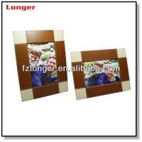 European high quality PU leather photo frame with stand Custom bulk price faux leather picture frame