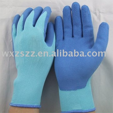 13Gauge Nylon liner, foam bulk latex gloves with palm coated/