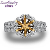 Fine Jewelry Ring Mold Round 18K White Gold Diamond Semi Mount Ring Setting