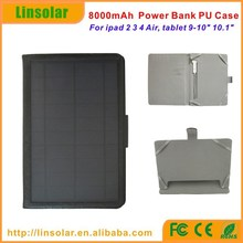2015 china factory new products PU leather 8000mAh universal tabler solar charger case for ipad tablet