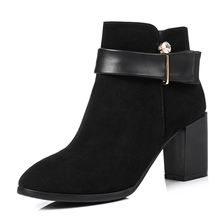 buckle block heels genuine leather large sizes womens punk boots