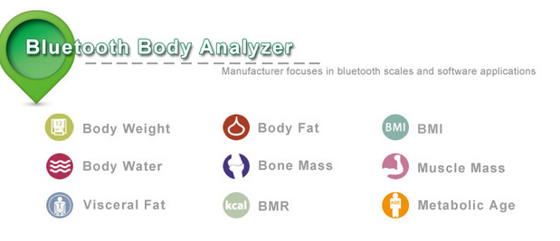 IOS Android 2.1-4.0 Bluetooth Eletronic Body Fat Analyzing Digital Bathroom Weighing Scale