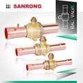 Sanrong Refrigerant Ball Valve with Schraeder Valve, GBC Brass Ball Valve with Access Port, Air Conditioner Ball Valve