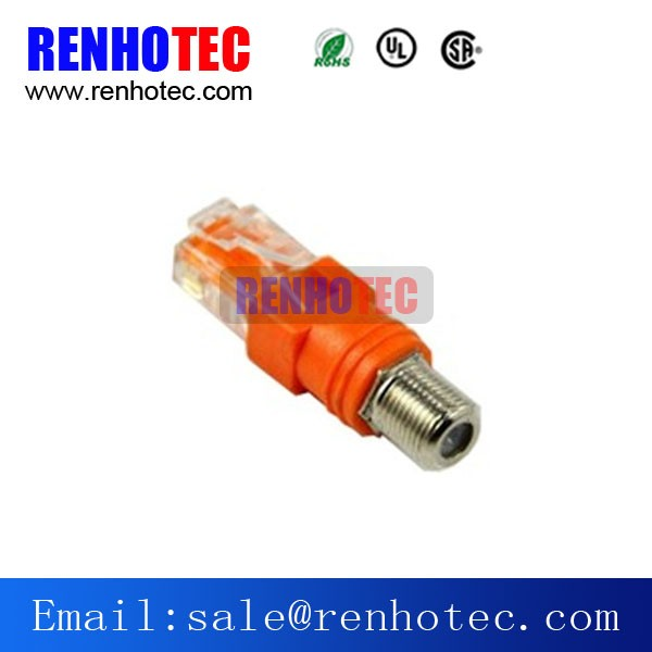 Ethernet Connector RJ45 to F Connector Adapter