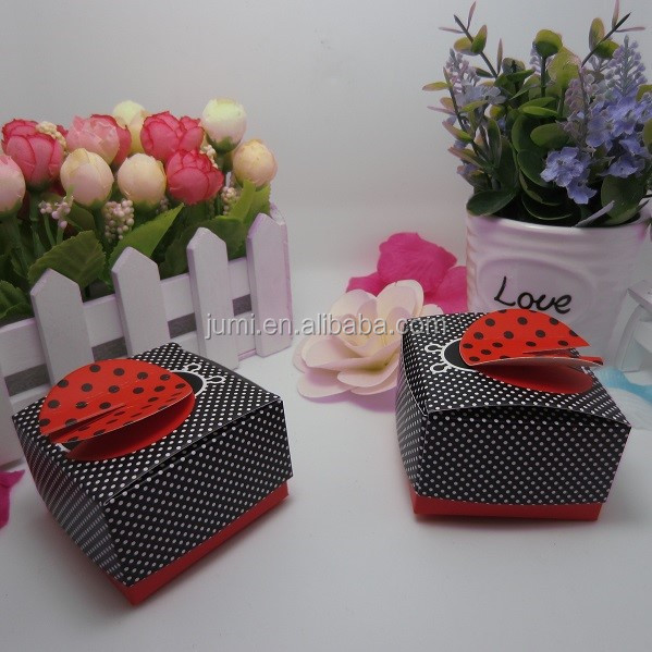 3-D Wing ladybug baby shower decoration paper candy box packaging <strong>custom</strong> printed