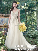 New collection soft organza embriodery beads strapless v neckline grown bridals