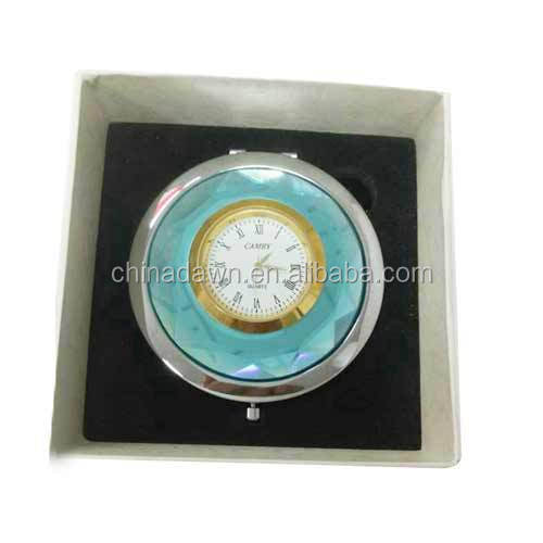 New pocket mirror cosmetic mirror compact mirror crytal mirror with clock CD-MS069