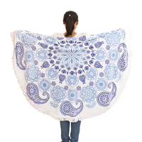 wholesale 2015 new design round beach towels mandala style round towels with tassels
