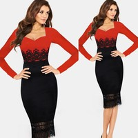 Walson 2015 Lace Crochet Tunic Business Party Evening Prom Fashion Sexi Night Dress 20133 Boutique boutique