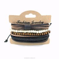 Napel Unique Bracelet White and Black Wood Bead Bracelet Braided Adjustable Friendship Bracelet