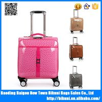 Girls' pink universal wheel 16 inches Ostrich style pu travel boarding trolley luggage bag