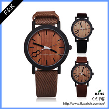 Wholesale genuine leather strap wooden watch
