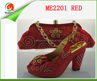 ME2201 New Fashion Italian Women Shoes With Matching Bag Set Nice African High Heels With Brand. red color