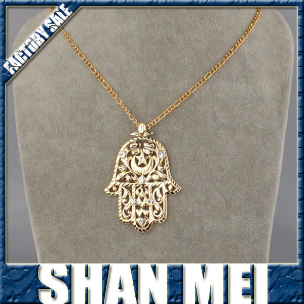 Big Size Hamsa Hand Pendant Women Men Luck Jewelry Gift Trendy 18K Real Gold Plated Rhinestone Judaica Necklaces