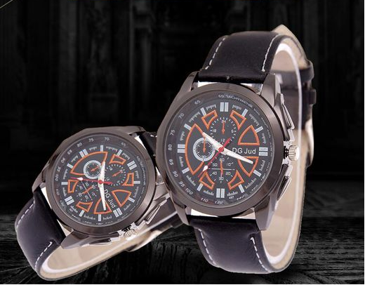 497 Men's leather watches tungsten steel case leather strap business 2016 quartz men watch