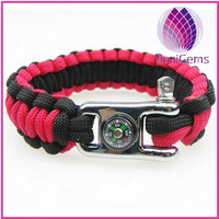 High quality paracord bracelet with compass for outdoor survival paracord survival bracelet