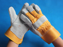 Hot sales 10.5 inches yellow split leather working gloves with safety cuff-full palm cheapest gloves