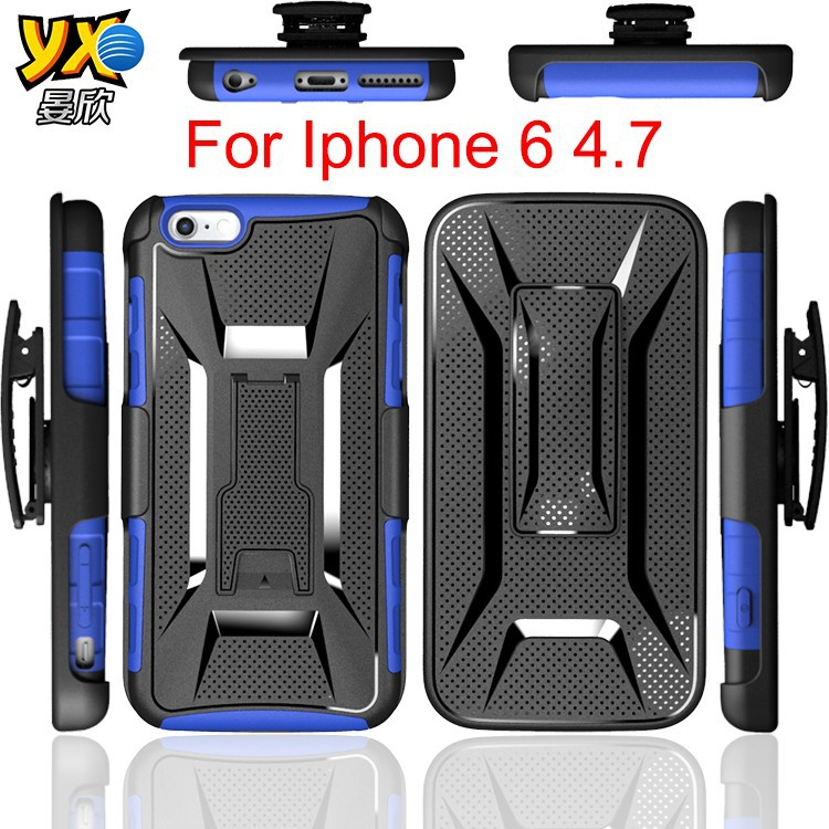 3 in 1 tpu+pc Factory Supply Armor combo for iPhone 6 Case with T Shape Kickstand Belt Clip for Aplle 6