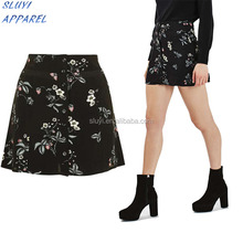 flower printed black skirts,top selling wholesale fashion sexy galleries girls mini skirt mini dress