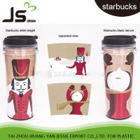 hot sell starbucks plastic cup double wall with paper insert