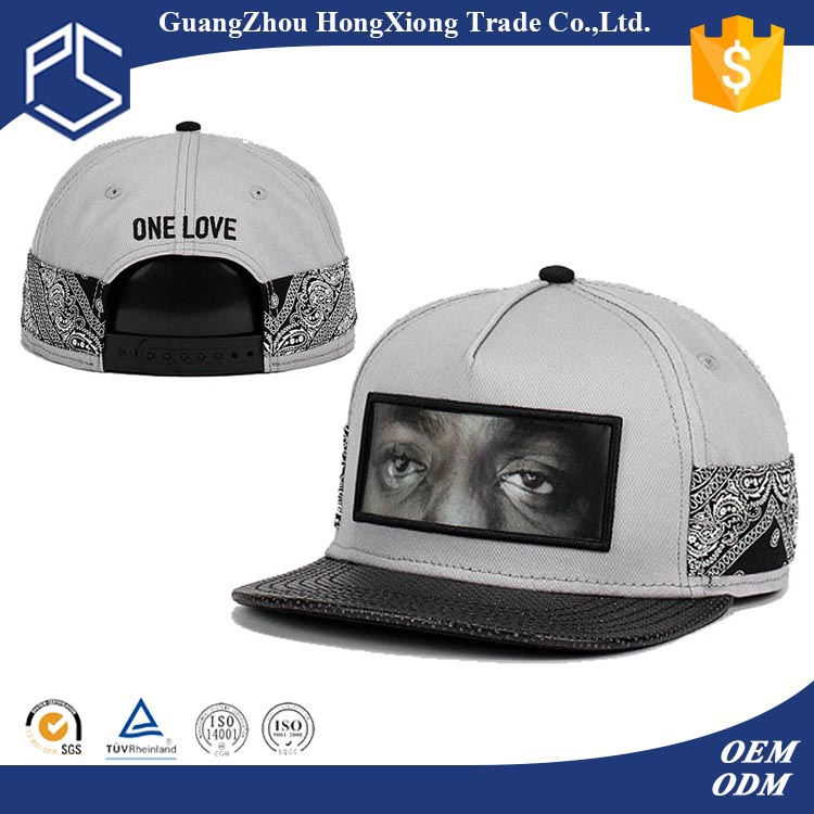 Leather peaked sublimation flat front imitation caps for men