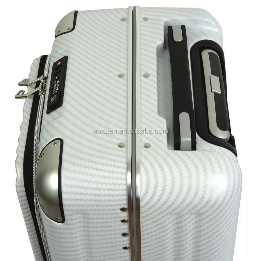 easy access pocket abs pc aluminum frame suitcase