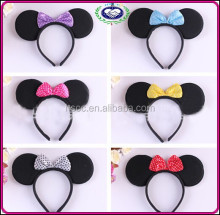 Wholesale price mickey minnie mouse headband Birthday party cartoon make up plush headband 7colors