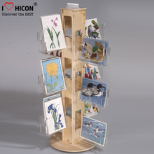 Book Store Greeting Card Wholesale Racks Countertop Acrylic Holders Wooden Rotating Gift Card Displays