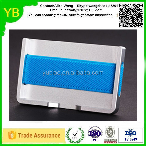 Custom aluminium red/black/blue metal 3m sticker credit card holder in Guangdong ISO9001/TS16949