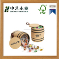Eco-friendly China manufacturers decorative wood candy box barrel