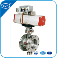 MSS SP68 Spec Class 150# 300# Working Pressure Double Flanged Air Drive Butterfly Valve With Pneumatic Actuator
